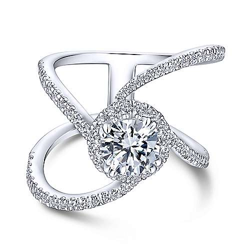 Gabriel - Bloom 18k White Gold Round Halo Engagement Ring