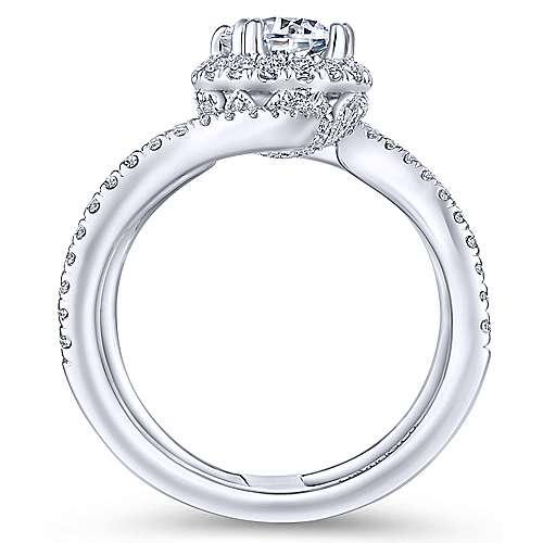 Bloom 18k White Gold Round Halo Engagement Ring angle 2