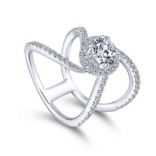 Bloom 18k White Gold Round Halo Engagement Ring angle 3