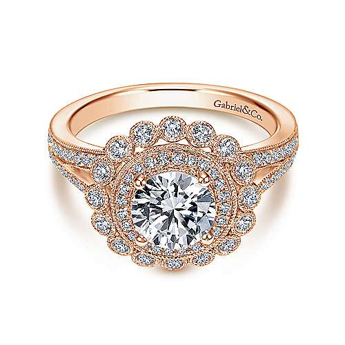 Gabriel - Bloomfield 14k Rose Gold Round Halo Engagement Ring