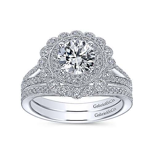 Bloomfield 14k White Gold Round Double Halo Engagement Ring angle 4