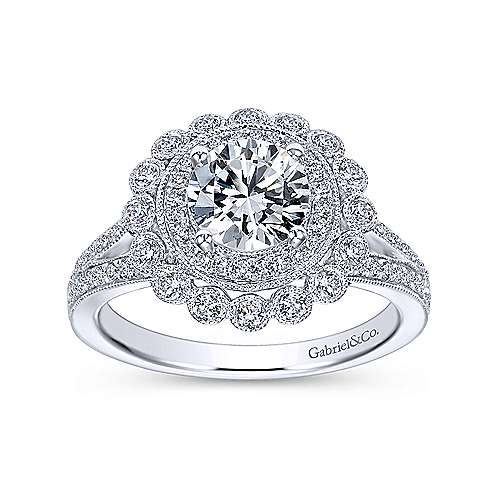Bloomfield 14k White Gold Round Double Halo Engagement Ring angle 5