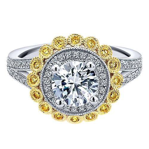 Gabriel - Bloomfield 14k Yellow And White Gold Round Double Halo Engagement Ring