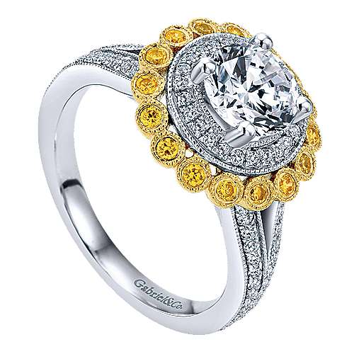Bloomfield 14k Yellow And White Gold Round Double Halo Engagement Ring angle 3