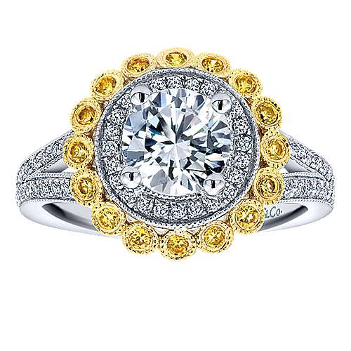 Bloomfield 14k Yellow And White Gold Round Double Halo Engagement Ring angle 5