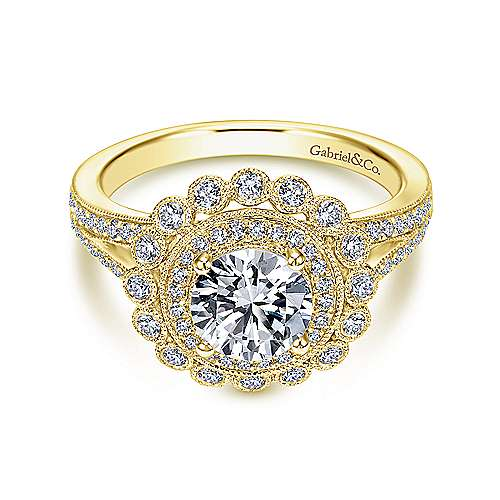 Gabriel - Bloomfield 14k Yellow Gold Round Double Halo Engagement Ring