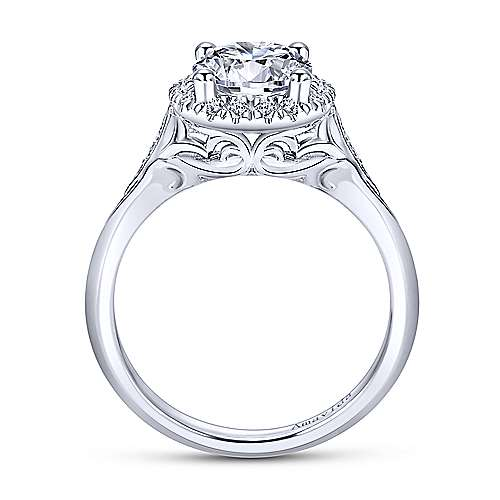 Boa 18k White Gold Round Halo Engagement Ring angle 2