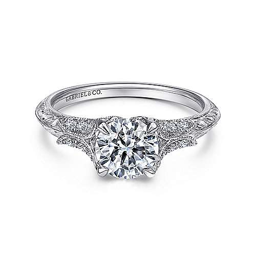 Bonnie 18k White Gold Round Straight Engagement Ring angle 1
