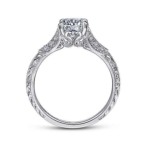 Bonnie 18k White Gold Round Straight Engagement Ring angle 2