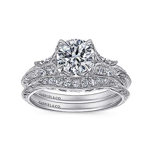 Bonnie 18k White Gold Round Straight Engagement Ring angle 4