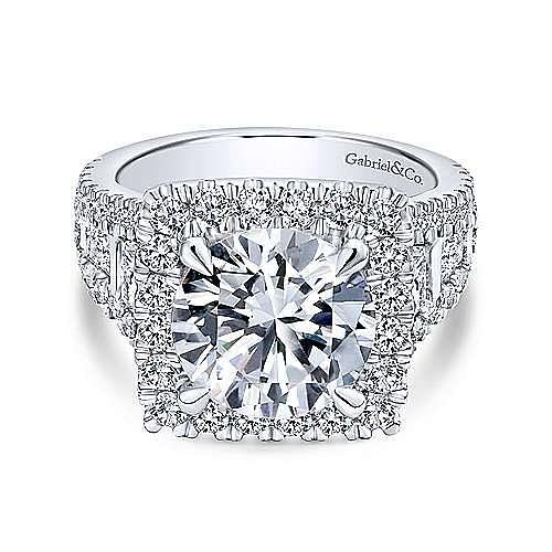 Bowery 18k White Gold Round Halo Engagement Ring angle 1