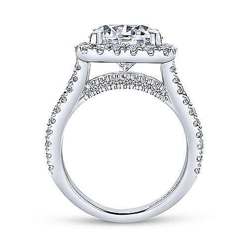 Bowery 18k White Gold Round Halo Engagement Ring angle 2