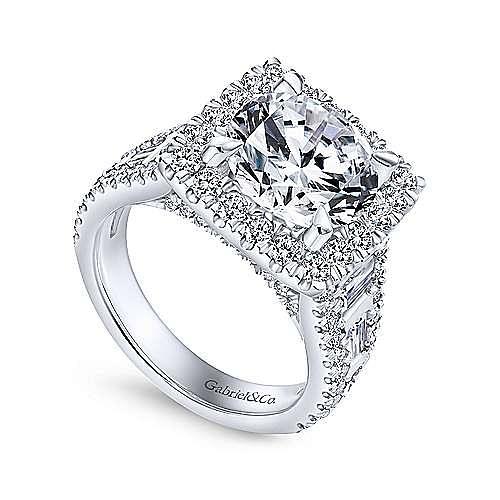 Bowery 18k White Gold Round Halo Engagement Ring angle 3