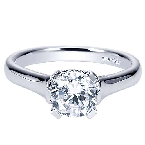 Gabriel - Bradshaw 18k White Gold Round Solitaire Engagement Ring