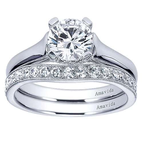 Bradshaw 18k White Gold Round Solitaire Engagement Ring angle 4