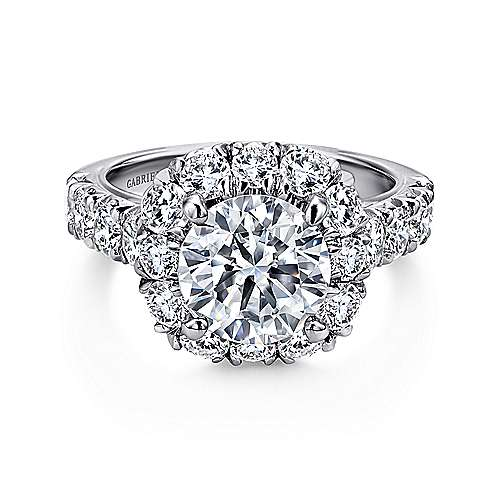Gabriel - Brandy 18k White Gold Round Halo Engagement Ring