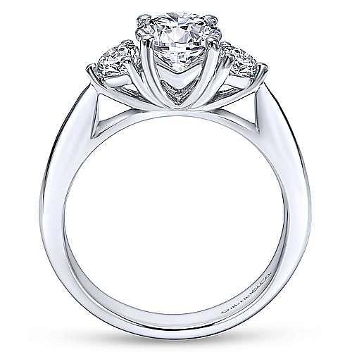 Brenna 14k White Gold Round 3 Stones Engagement Ring angle 2