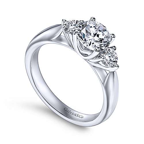 Brenna 14k White Gold Round 3 Stones Engagement Ring angle 3