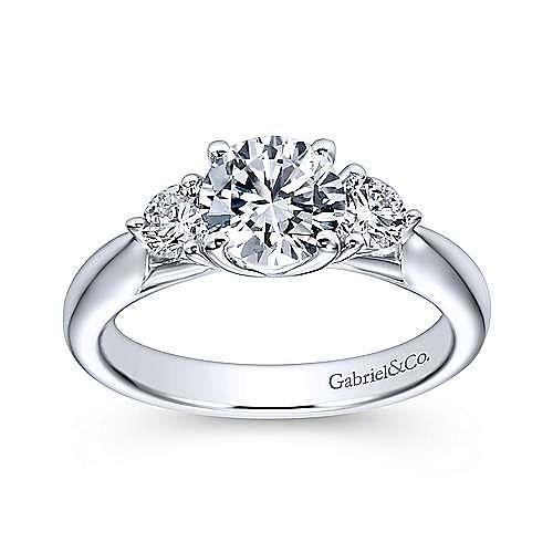 Brenna 14k White Gold Round 3 Stones Engagement Ring angle 5