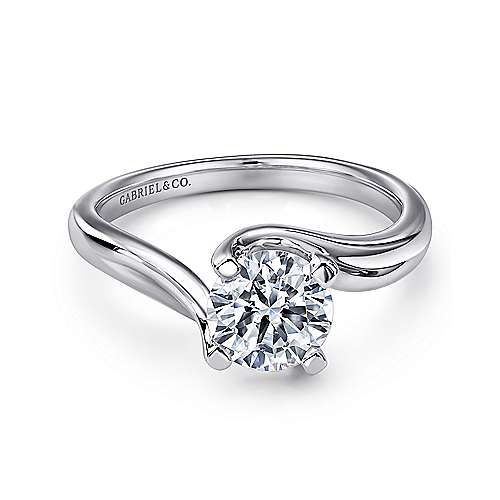 Gabriel - Bria 14k White Gold Round Bypass Engagement Ring