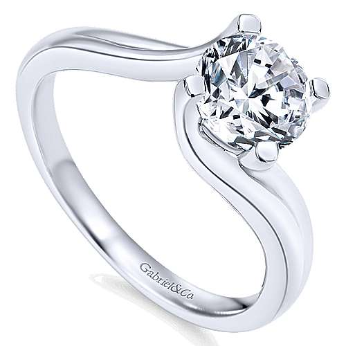 Bria 14k White Gold Round Bypass Engagement Ring angle 3