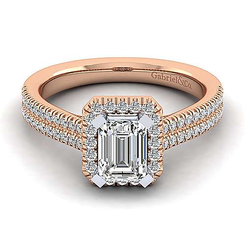 Brianna 14k White And Rose Gold Emerald Cut Halo Engagement Ring angle 1