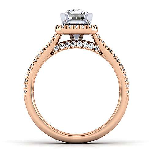 Brianna 14k White And Rose Gold Emerald Cut Halo Engagement Ring angle 2