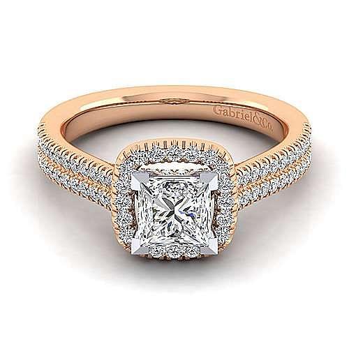 Brianna 14k White And Rose Gold Princess Cut Halo Engagement Ring angle 1