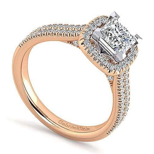 Brianna 14k White And Rose Gold Princess Cut Halo Engagement Ring angle 3