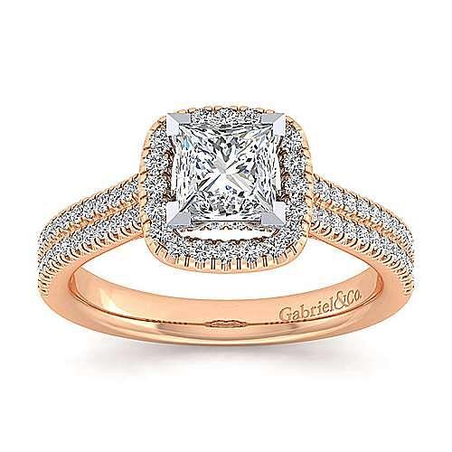 Brianna 14k White And Rose Gold Princess Cut Halo Engagement Ring angle 5