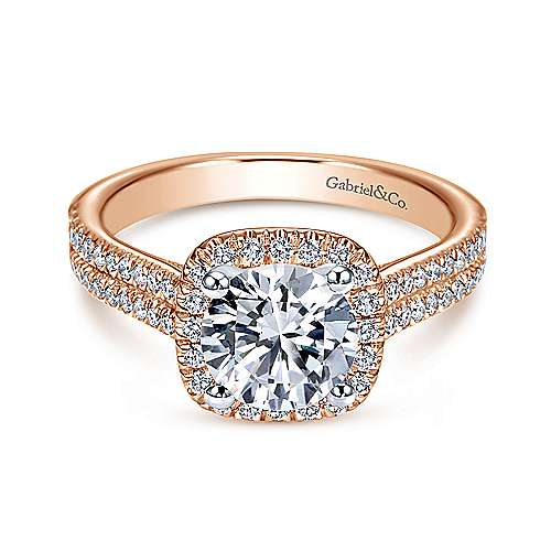 Gabriel - Brianna 14k White And Rose Gold Round Halo Engagement Ring