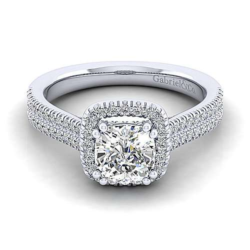 Gabriel - Brianna 14k White Gold Cushion Cut Halo Engagement Ring