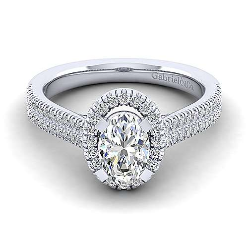 Gabriel - Brianna 14k White Gold Oval Halo Engagement Ring