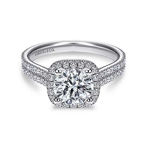 Gabriel - Brianna 14k White Gold Round Halo Engagement Ring