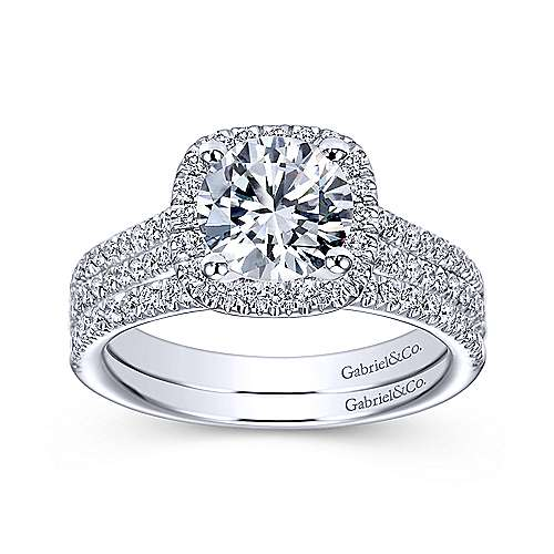Brianna 14k White Gold Round Halo Engagement Ring angle 4