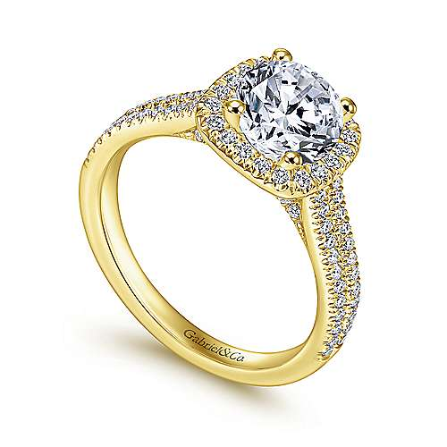 Brianna 14k Yellow And White Gold Round Halo Engagement Ring angle 3