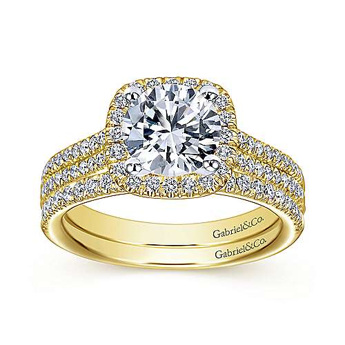 Brianna 14k Yellow And White Gold Round Halo Engagement Ring angle 4