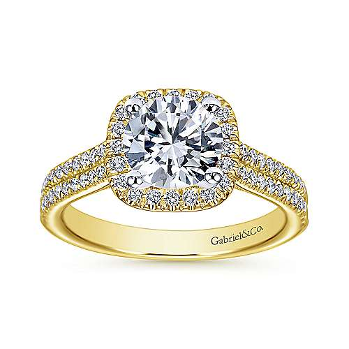 Brianna 14k Yellow And White Gold Round Halo Engagement Ring angle 5