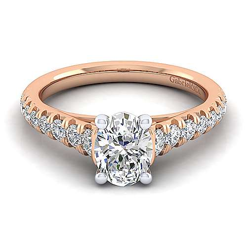Bridget 14k White And Rose Gold Oval Straight Engagement Ring angle 1