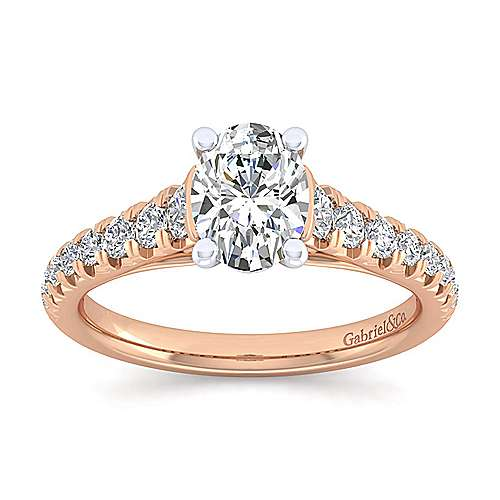 Bridget 14k White And Rose Gold Oval Straight Engagement Ring angle 5
