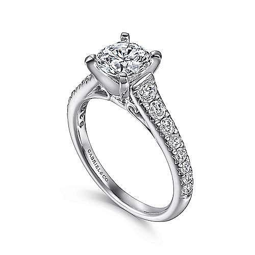 Bridget 14k White Gold Round Straight Engagement Ring angle 3