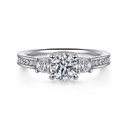 Gabriel - Brie 14k White Gold Round 3 Stones Engagement Ring