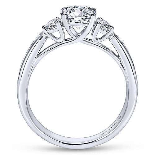 Brie 14k White Gold Round 3 Stones Engagement Ring angle 2
