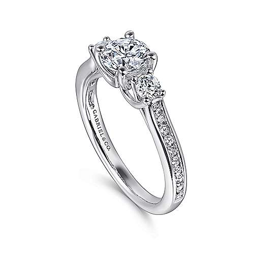 Brie 14k White Gold Round 3 Stones Engagement Ring angle 3