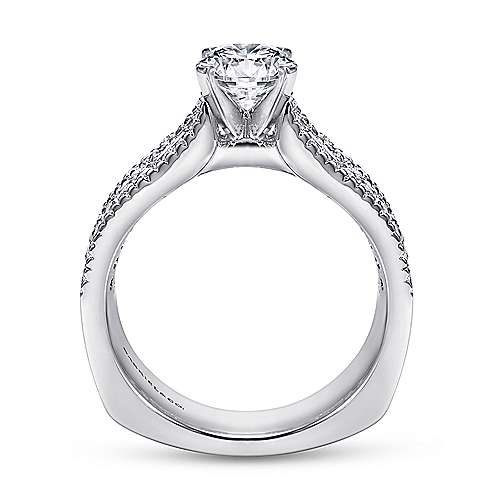 Brielle 14k White Gold Round Straight Engagement Ring angle 2
