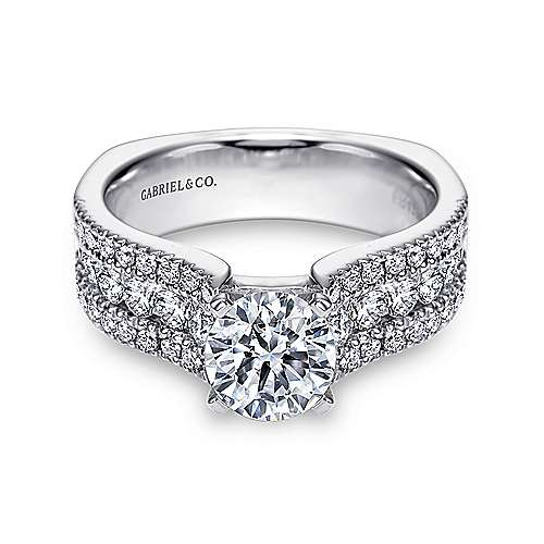 Gabriel - Brielle 14k White Gold Round Wide Band Engagement Ring