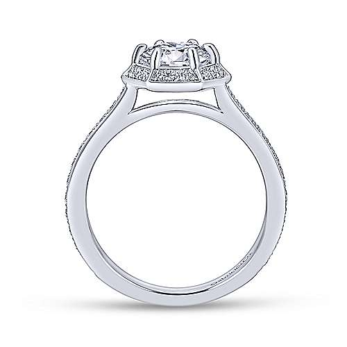Brienne 14k White Gold Round Halo Engagement Ring angle 2