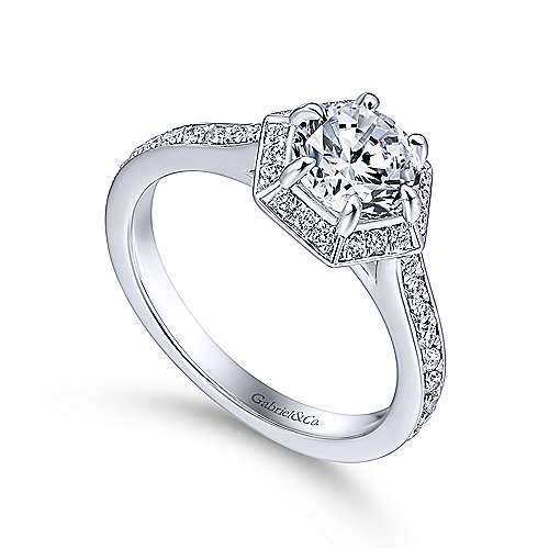 Brienne 14k White Gold Round Halo Engagement Ring angle 3