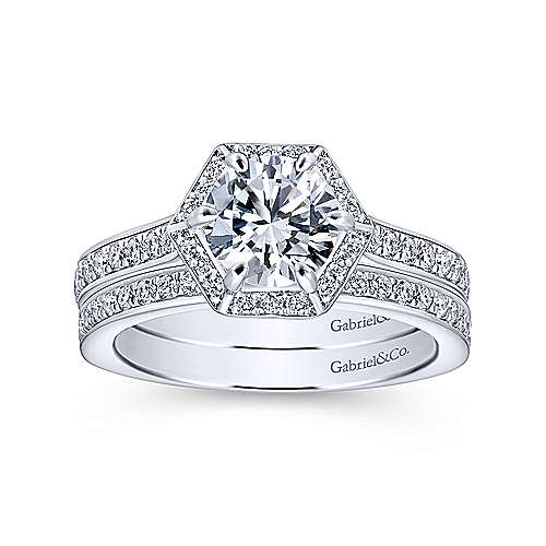 Brienne 14k White Gold Round Halo Engagement Ring angle 4