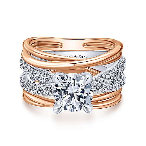 Gabriel - Bright 18k White And Rose Gold Round Twisted Engagement Ring